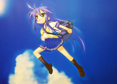 Lucky Star, school uniforms, The Girl Who Leapt Through Time, blue hair, green eyes, Izumi Konata, skies, knee socks - related desktop wallpaper