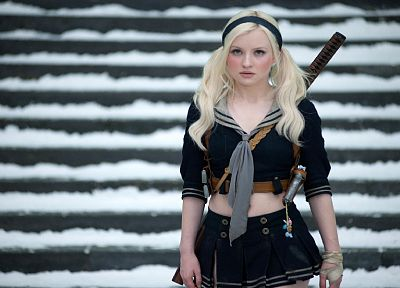 blondes, women, movies, katana, school uniforms, skirts, Emily Browning, pigtails, Sucker Punch - random desktop wallpaper
