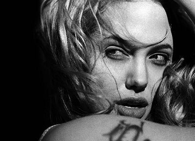 Angelina Jolie, grayscale, monochrome, faces - related desktop wallpaper