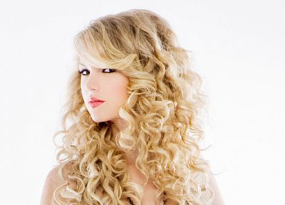 blondes, women, Taylor Swift, celebrity, singers, curly hair, white background - random desktop wallpaper