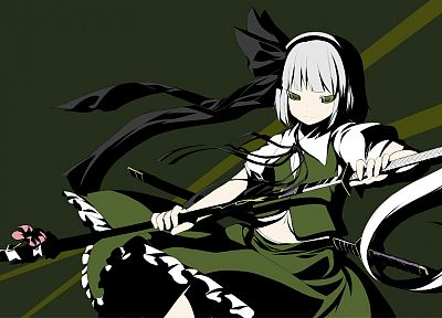 Touhou, dress, katana, green eyes, Konpaku Youmu, white hair, anime girls, games - related desktop wallpaper