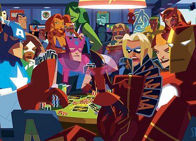Iron Man, Thor, Spider-Man, Captain America, poker, alternative art, poker chips, She-Hulk, Marvel Comics, The Avengers, Hawkeye, Scarlet Witch, playing cards, Bruce Banner, Namor The Submariner, Antman, quick silver - related desktop wallpaper