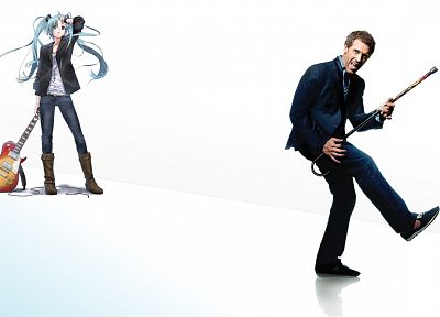 Vocaloid, Hatsune Miku, pigtails, guitars, Hugh Laurie, Gregory House, simple background, House M.D. - desktop wallpaper