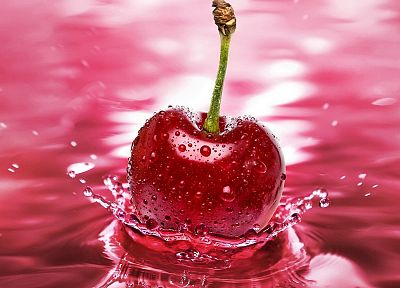 nature, fruits, cherries, water drops, macro - desktop wallpaper