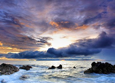 ocean, clouds, nature, rocks, skyscapes, sea - related desktop wallpaper