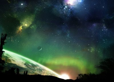 green, outer space, horizon, trees, stars, planets, Earth, atmosphere, science fiction, moons - random desktop wallpaper