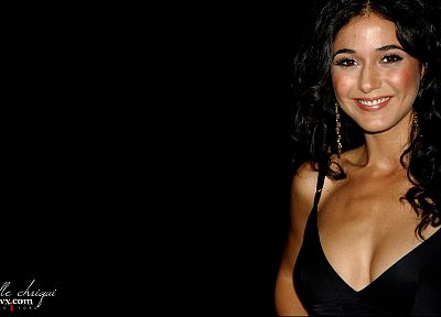 women, actress, cleavage, models, Emmanuelle Chriqui, smiling, earrings, Canadian, black dress, faces, black background - desktop wallpaper
