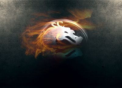 video games, fire, Mortal Kombat, logos, simple background, Mortal Kombat logo - desktop wallpaper