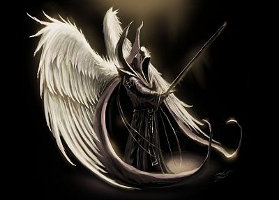 angels, fantasy, wings, death, Diablo, fantasy art, darkness, swords, Tyrael Archangel - related desktop wallpaper