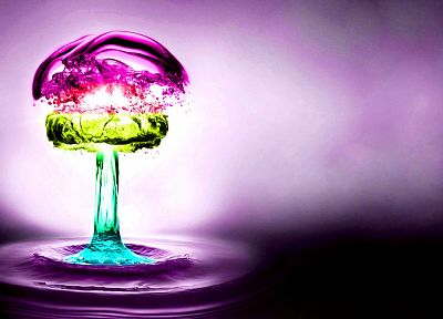 water, multicolor, purple, nuclear explosions, splashes - related desktop wallpaper