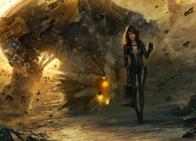 leather, women, fantasy, landscapes, robots, cleavage, fantasy art, suitcase, explosion - desktop wallpaper