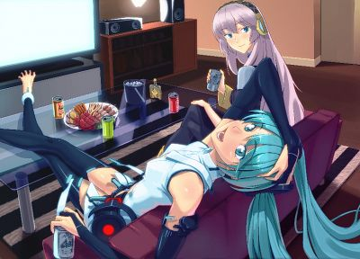 Vocaloid, Hatsune Miku, Megurine Luka, Miku Append, Vocaloid Append, detached sleeves - desktop wallpaper