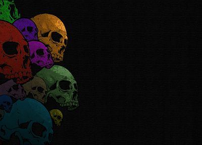 skulls, artwork, black background - desktop wallpaper