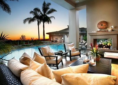 trees, chairs, palm trees, living room, swimming pools, interior design, fireplaces - random desktop wallpaper