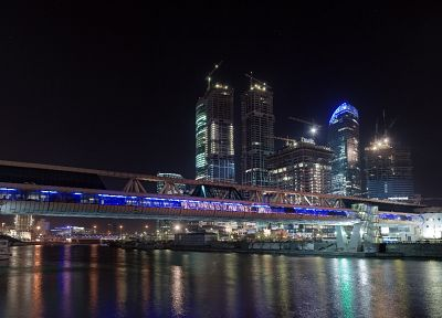 cityscapes, night, bridges, buildings, rivers - desktop wallpaper