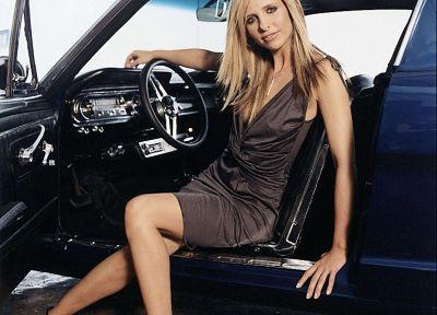 blondes, women, Sarah Michelle Gellar, cars - random desktop wallpaper
