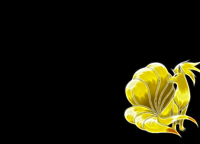 Pokemon, Fractalius, Ninetails, black background - desktop wallpaper