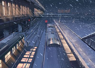 snow, Makoto Shinkai, train stations, 5 Centimeters Per Second, snowing - desktop wallpaper