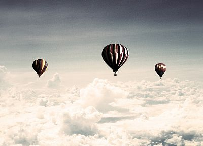clouds, hot air balloons - desktop wallpaper