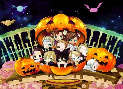 Japan, England, China, Germany, Halloween, France, chibi, USA, Italy, anime, Prussia, Axis Powers Hetalia - desktop wallpaper