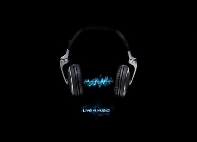 headphones, music, black background - related desktop wallpaper