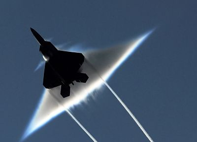 aircraft, Boom, F-22 Raptor, sound barrier - desktop wallpaper