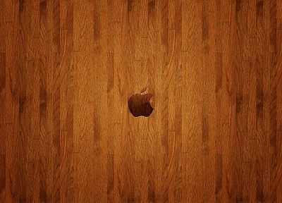 Apple Inc., wood panels, logos - related desktop wallpaper