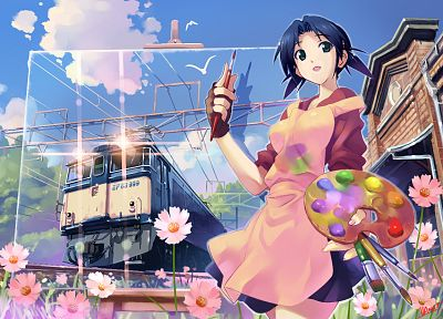 flowers, blue eyes, trains, paint, blue hair, artwork, anime girls, Vania600, original characters - desktop wallpaper