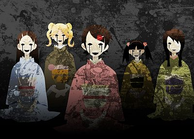 brunettes, blondes, Sayonara Zetsubou Sensei, dress, tears, long hair, eyepatch, kimono, black eyes, short hair, twintails, sitting, open mouth, fangs, bandages, yellow dress, Fuura Kafuka, blue dress, pink dress, Japanese clothes, anime girls, green dres - related desktop wallpaper