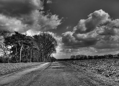 clouds, landscapes, grayscale, roads, monochrome - related desktop wallpaper