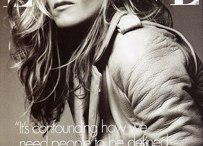 Jennifer Aniston, monochrome, Elle magazine - random desktop wallpaper