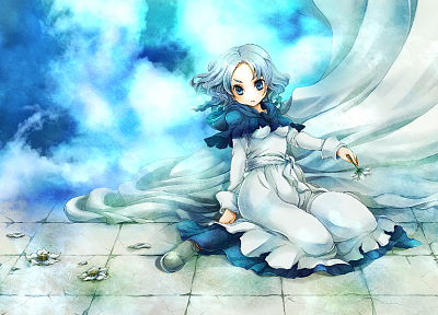video games, clouds, Touhou, dress, flowers, blue eyes, short hair, sitting, flower petals, white dress, kneeling, gray hair, skyscapes, Kumoi Ichirin - related desktop wallpaper