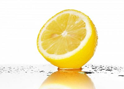 fruits, wet, water drops, lemons, white background - random desktop wallpaper