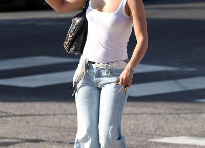 women, jeans, streets, cars, Hayden Panettiere, celebrity - desktop wallpaper