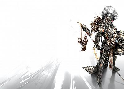 skulls, armor, shield, skeletons, artwork, warriors, spears - related desktop wallpaper