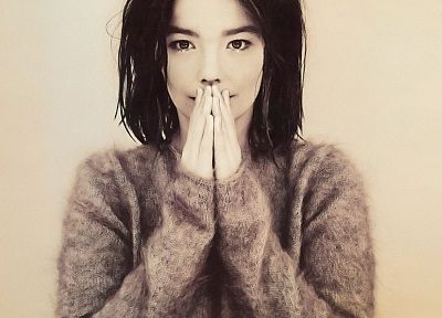 women, Björk, monochrome - random desktop wallpaper