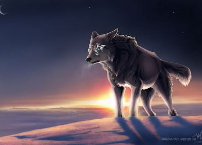 multicolor, animals, Moon, DeviantART, wolves - desktop wallpaper