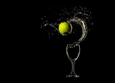glass, drinks, apples, black background, splashes - related desktop wallpaper