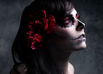 tattoos, women, faces, Kelsey Harker, sugar skulls - random desktop wallpaper