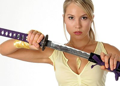 blondes, women, actress, katana, samurai, blade, Sarah Carter, swords - related desktop wallpaper