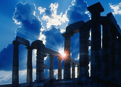 Greece, capes, temples, Poseidon, Sounion Cape - random desktop wallpaper
