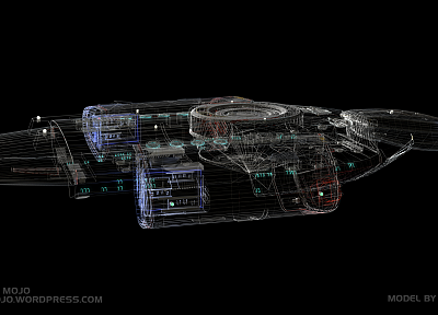 Star Trek, spaceships, wireframe, Deep Space 9, USS Defiant - random desktop wallpaper