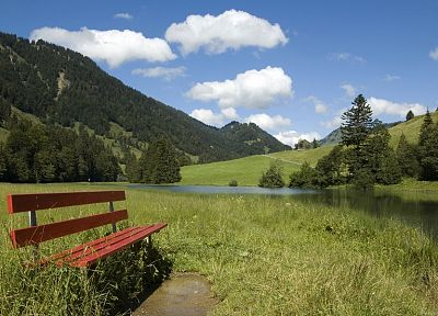 landscapes, nature, bench - desktop wallpaper