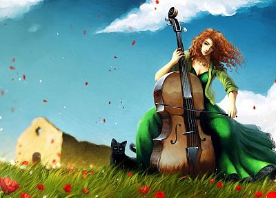 cats, cello, artwork - random desktop wallpaper