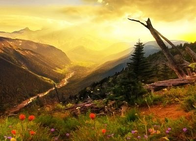 paintings, mountains, landscapes, trees, flowers, rivers - related desktop wallpaper