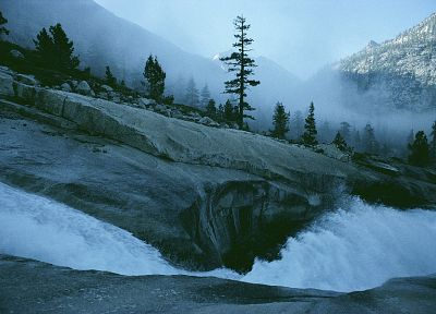 landscapes, mist, California, Sierra Nevadas, National Park, creek - random desktop wallpaper