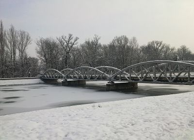 landscapes, winter, snow, bridges - desktop wallpaper