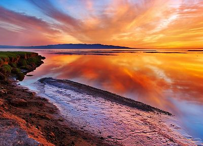 water, sunset, landscapes, reflections, beaches - desktop wallpaper