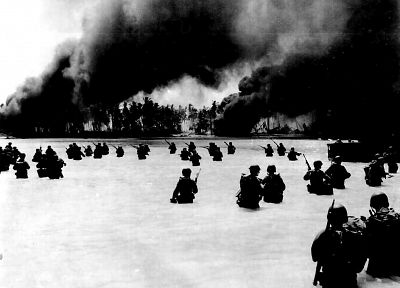 soldiers, military, smoke, US Marines Corps, infantry, War World, World War II, beaches - related desktop wallpaper
