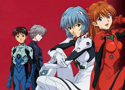 Ayanami Rei, Neon Genesis Evangelion, Ikari Shinji, Kaworu Nagisa, Asuka Langley Soryu, simple background - related desktop wallpaper